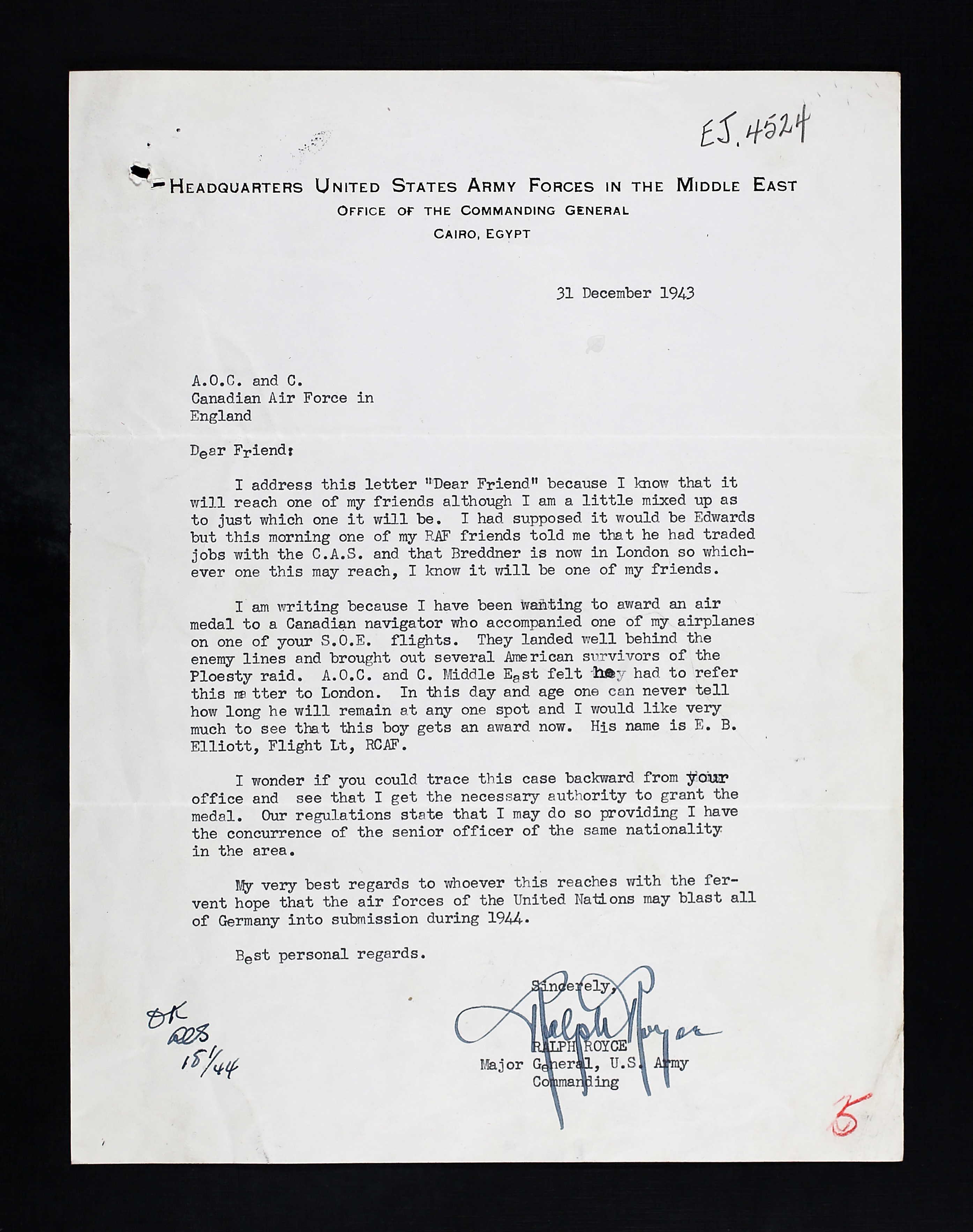 Letter– Letter sent to RCAF after Flt Lt Elliott's death attempting to find him and honour him with an Air Force Medal.