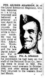 Newspaper clipping– The Toronto Star May 28, 1945, page 14