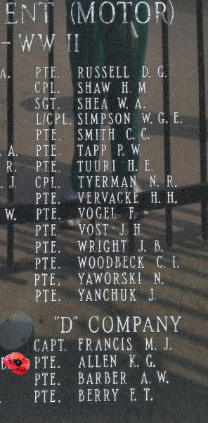 Memorial– Private Kenneth George Allen is also commemorated on the Lake Superior Regiment (Motor) Memorial located in Hillcrest Park, Thunder Bay, ON … May 2018 ... photo courtesy of Marg Liessens