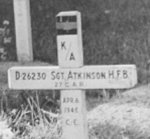Temporary grave– Temporary gravesite of Sergeant (Ackie) Atkinson, at Almen near Zutphen in Holland, shortly after he was killed in action, at the Battle of Zutphen, April 6, 1945.  Photo from files of good friend, Lt. Walter White of 27 Car (Sherbrooke Fusiliers) now deceased.