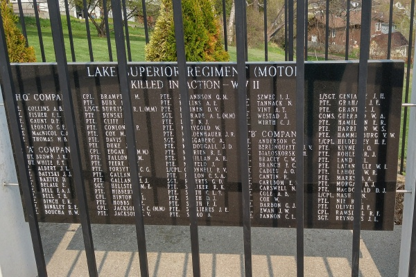 Memorial– Panel 1 … Lake Superior Regiment (Motor) Memorial located in Hillcrest Park, Thunder Bay, ON … May 2018 ... photo courtesy of Marg Liessens