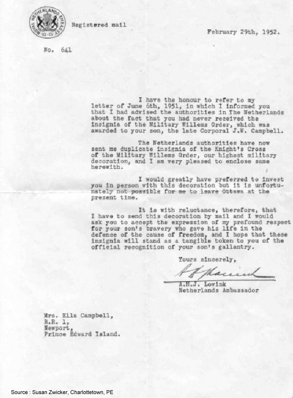 Letter from the Netherlands Ambassador