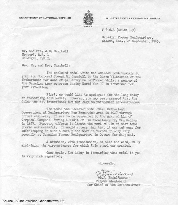Letter from DND (1965)