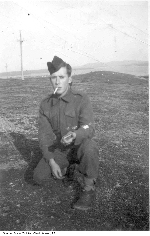 """Photo of J.W. Campbell 2– This is a picture of Cpl. Joe Campbell taken in Newfoundland, postings to Newfoundland were considered to be """"Overseas"""" as it was a part of the British Commonwealth and not a province of Canada."""