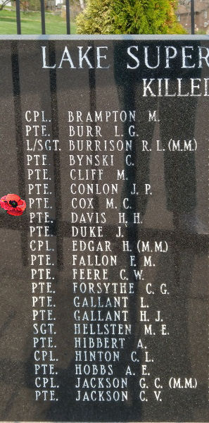Memorial– Private Melvin Charles Cox is also commemorated on the Lake Superior Regiment (Motor) Memorial located in Hillcrest Park, Thunder Bay, ON … May 2018 ... photo courtesy of Marg Liessens