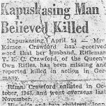 Press Clipping– Copy of Rfn Crawford's first obituary  from the Kapuskasing,Ontario newspaper in 1945.