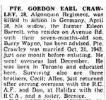 coupure de presse – Soldat Gordon Crawley tué au combat (The Toronto Star 15 mai 1945)