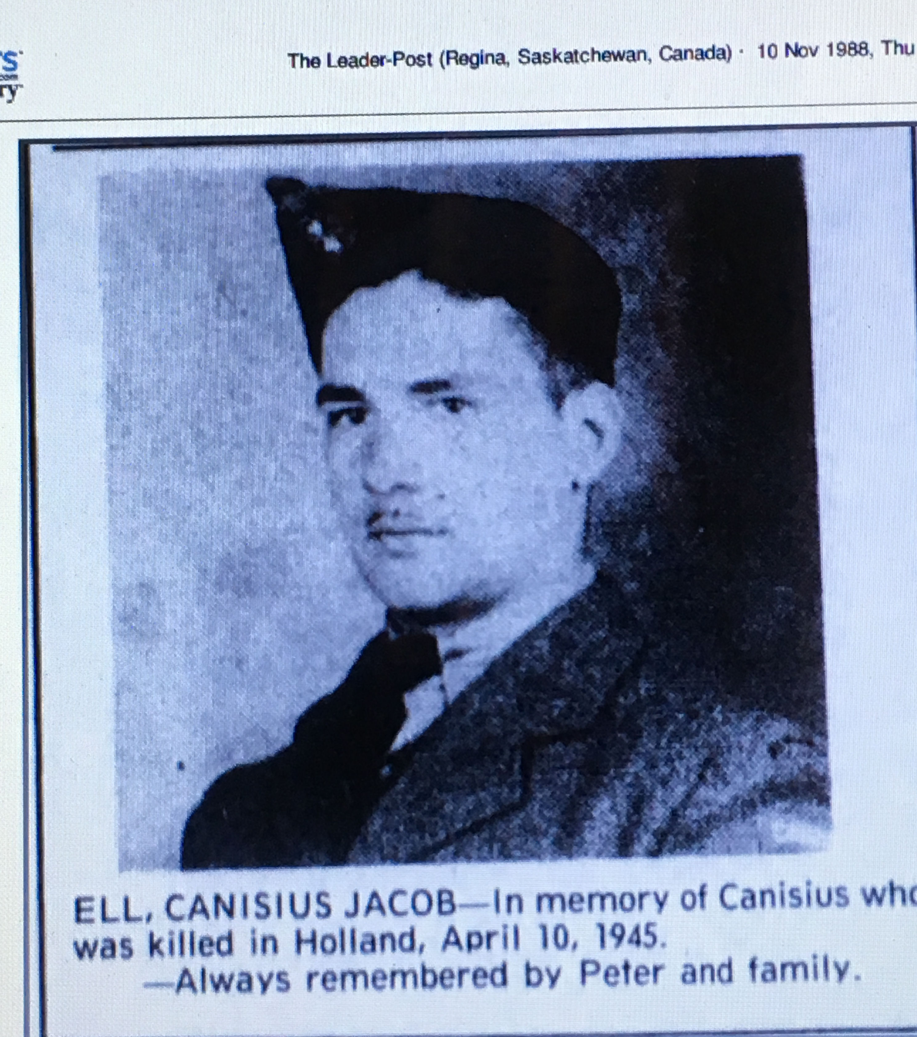 Newspaper clipping– Memorial image from Leader-Post newspaper Regina, Saskatchewan Nov 19 1988 p. 41
