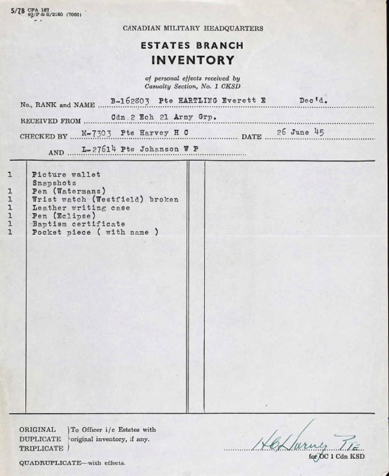 Estates Branch Inventory