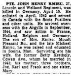 Newspaper Clipping– The Toronto Star May 18, 1945, page 9