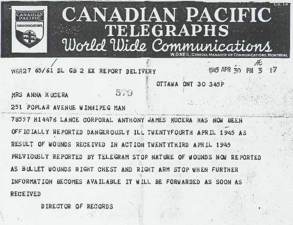 Telegraph dated 1945 APR 30