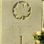 Grave Marker– Plot VI, Row B, Grave 10 - Holten Canadian War Cemetery, Holten Holland.  Photo taken November 5, 1998.  H14476 L CPL A.J. KUCERA THE ROYAL WINNIPEG RIFLES 27TH APRIL 1945 AGE 20  TONY BORN 11 JUNE 1924 DIED OF WOUNDS ALWAYS REMEMBERED