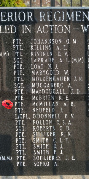 Memorial– Private Allan Robert McMillan is also commemorated on the Lake Superior Regiment (Motor) Memorial located in Hillcrest Park, Thunder Bay, ON … May 2018 ... photo courtesy of Marg Liessens
