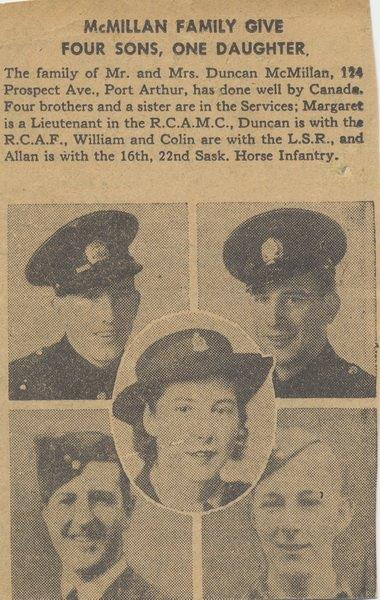 Port Arthur newspaper article,acknowledging family contribution to Canadian Forces.– Clockwise Top left,William,Colin,Allan,Duncan,Margaret in centre