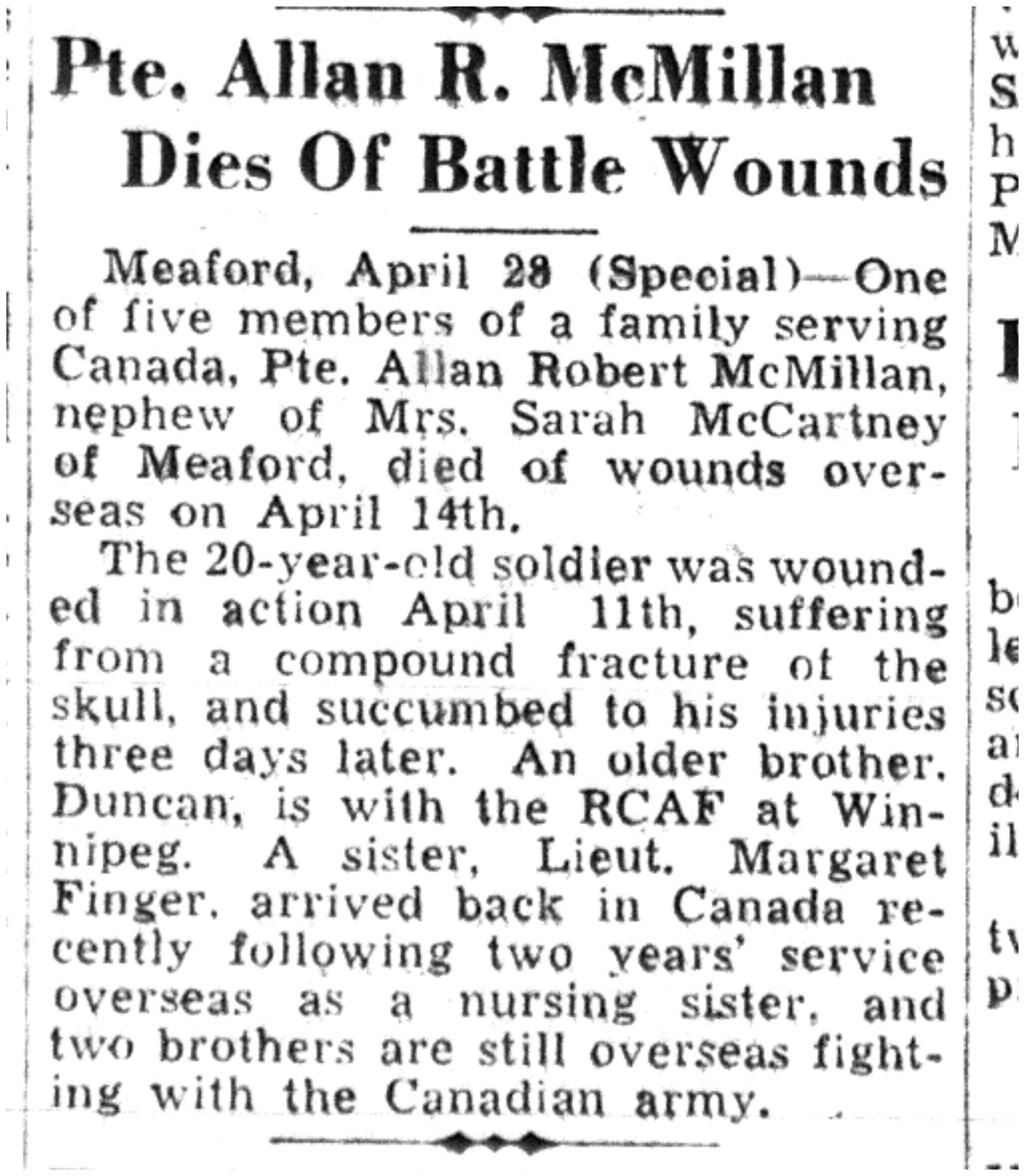 Newspaper clipping– Memorialized on the pages of the Toronto Telegram. Submitted for the project, Operation Picture Me