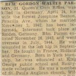 Press Clipping– This obituary of Rfn Parson was clipped from a 1945 Toronto newspaper and preserved in a private collection.