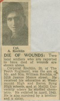 Press Clipping– Corporal Abraham Rochlin obit Montreal Star May 8 1945 courtesy McGill University archives