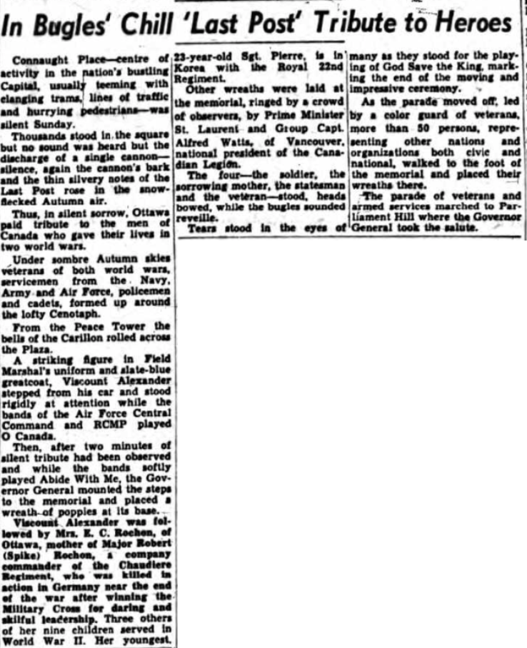 Newspaper Clipping– Mrs Alice Rochon Silver Cross Mother 1951. Submitted for the project, Operation Picture Me