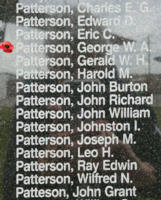 Memorial– Flight Sergeant George William Alex Patterson is also commemorated on the Bomber Command Memorial Wall in Nanton, AB … photo courtesy of Marg Liessens