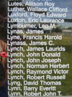 Memorial– Flying Officer John Donald Lynch is also commemorated on the Bomber Command Memorial Wall in Nanton, AB … photo courtesy of Marg Liessens