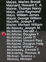 Memorial– Pilot Officer Douglas Fraser McAllister is also commemorated on the Bomber Command Memorial Wall in Nanton, AB … photo courtesy of Marg Liessens