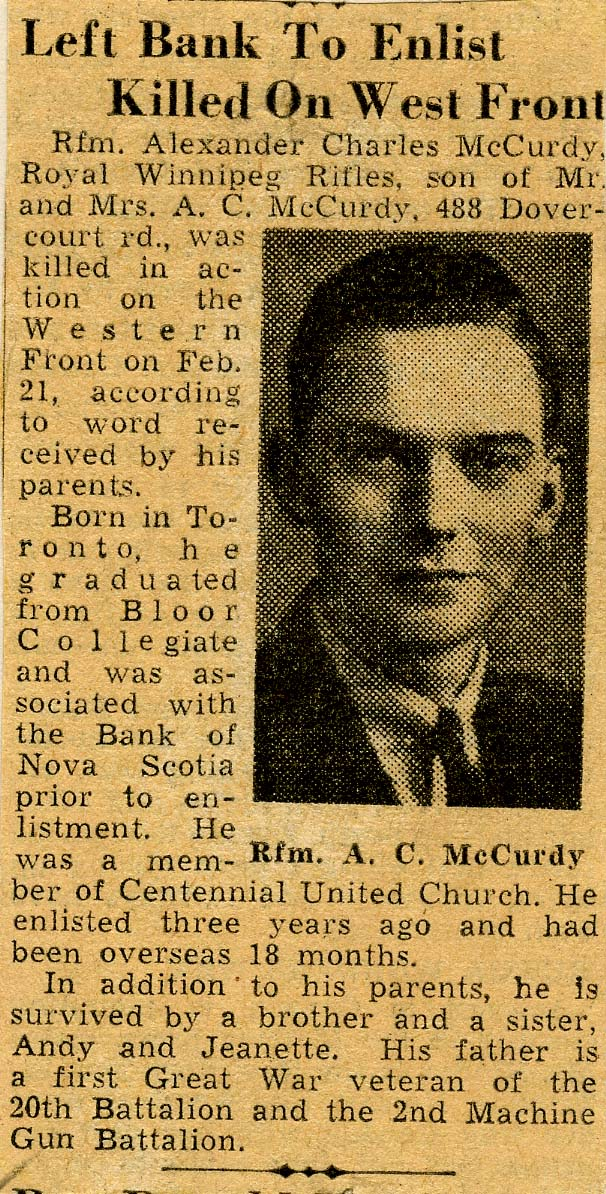 Newspaper Clipping– In memory of the employes from the Bank of Nova Scotia who went away to war and did not return. Submitted for the project, Operation: Picture Me