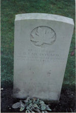 Grave Marker– Grave of Pvt. L-50137 Bernard J. McDonald who served with the South Sask. Regt.  He was KIA on Jan. 19th 1945 at age 32.