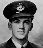 "Photo of Ralph Nelson MacDonald– MacDonald, Ralph Nelson - Flying Officer. Born 13th March, 1923, at Glace Bay, N.S. Educated at Glace Bay High School. Entered the service of the Bank 27th January, 1941. Served at Glace Bay. Enlisted 6th November, 1941, from that branch in R.C.A.F. Pilot Officer 20th November, 1942; Flying Officer 9th August, 1943. Trained at St. Thomas, Ont., Toronto, and Windsor Mills and St. Hubert, Que., graduating from the last-named school as honour student of his class. Served with 123 Squadron at Debert, N.S. Overseas in August, 1943. Served with 439 Squadron, with 41 operational flights as Typhoon pilot.  Killed on active service 3rd November, 1944, while testing a plane. Buried at Eindhoven, and later in permanent Military Cemetery, Numegen, Holland.  His Station Chaplain wrote: ""He was so admired for his cool courage and generosity of spirit. He asked so little for himself and did so much for others.""