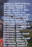 Memorial– Flight Sergeant William Gordon McKinnon is also commemorated on the Bomber Command Memorial Wall in Nanton, AB … photo courtesy of Marg Liessens