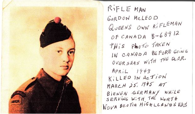 Photo of GORDON ROBERT MCLEOD– Photo obtained from his brother Donald McLeod