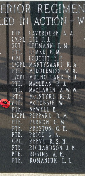 Memorial– Private William McRobbie is also commemorated on the Lake Superior Regiment (Motor) Memorial located in Hillcrest Park, Thunder Bay, ON … May 2018 ... photo courtesy of Marg Liessens