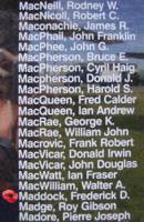 Memorial– Flight Sergeant Frederick Daniel Maddock is also commemorated on the Bomber Command Memorial Wall in Nanton, AB … photo courtesy of Marg Liessens