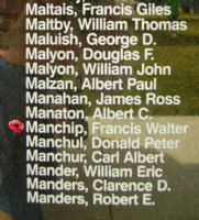 Memorial– Pilot Officer Francis Walter Manchip is also commemorated on the Bomber Command Memorial Wall in Nanton, AB … photo courtesy of Marg Liessens