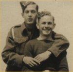 Photo of Joseph Muise– Uncle Arthur standing, Uncle Lawrence Cottreau sitting