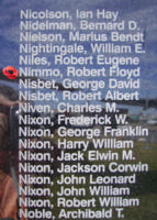 Memorial– Pilot Officer Robert Floyd Nimmo is also commemorated on the Bomber Command Memorial Wall in Nanton, AB … photo courtesy of Marg Liessens