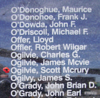 Memorial– Pilot Officer Scott McRury Ogilvie is also commemorated on the Bomber Command Memorial Wall in Nanton, AB … photo courtesy of Marg Liessens