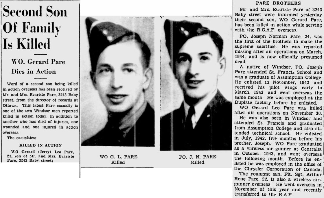 Newspaper Clipping– Image source: The Windsor Daily Star - Dec 5, 1944