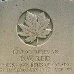 Grave Marker– This photo of Rfn Reid's gravemarker was taken in June 2003.