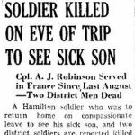 Newspaper Clipping– Source:  Hamilton Spectator, March 1, 1945