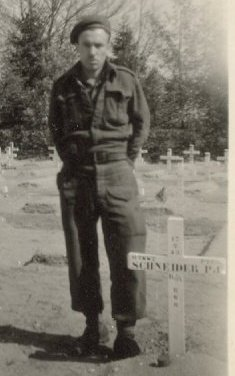 Paying respects– My Grandfather, Peter Schneider, at his brother's grave.