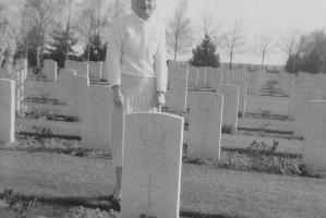 Photo– Elaine Yonge at George's grave.  Submitted for the project, Operation Picture Me