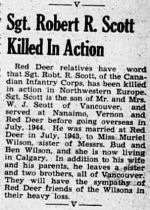 Newspaper Clipping– The Red Deer Advocate 21 Mar 1945