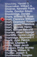 Memorial– Pilot Officer Clarence William Farraday Short is commemorated on the Bomber Command Memorial Wall in Nanton, AB … photo courtesy of Marg Liessens