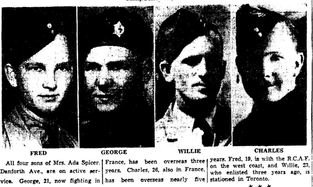 Coupure de presse – De le Toronto Star, septembre 1944. Soumis pour le projet Operation Picture Me.
