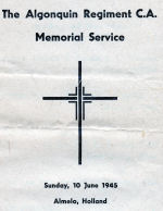 Pamphlet– Front of pamphlet of Algonquin Regt memorial service in Holland 1945.