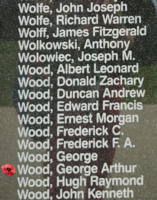 Memorial– Pilot Officer George Arthur Wood is also commemorated on the Bomber Command Memorial Wall in Nanton, AB … photo courtesy of Marg Liessens