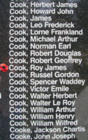 Memorial– Flying Officer Roy James Cook is also commemorated on the Bomber Command Memorial Wall in Nanton, AB … photo courtesy of Marg Liessens
