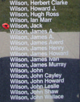 Memorial– Pilot Officer Jack Wilson is also commemorated on the Bomber Command Memorial Wall in Nanton, AB … photo courtesy of Marg Liessens
