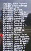 Memorial– Pilot Officer Henry John Kennedy is also commemorated on the Bomber Command Memorial Wall in Nanton, AB … photo courtesy of Marg Liessens