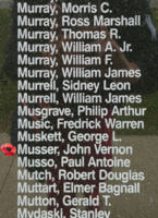 Memorial– Pilot Officer John Vernon Musser is also commemorated on the Bomber Command Memorial Wall in Nanton, AB … photo courtesy of Marg Liessens